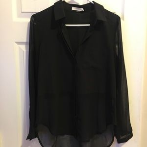 Nordstrom Lush Sheer Black Button Up!